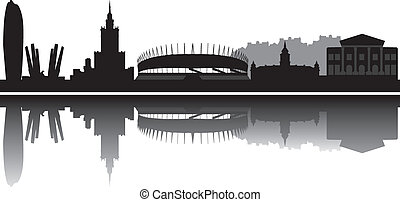 warsaw skyline one of the 2012 european soccer championship...