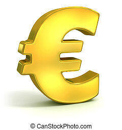 golden euro symbol isolated on white - currency 3d concept