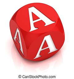 dice font letter A -  3d illustration