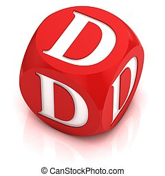 dice font letter D 3d illustration