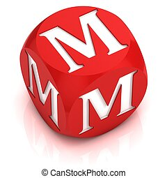 dice font letter M 3d illustration