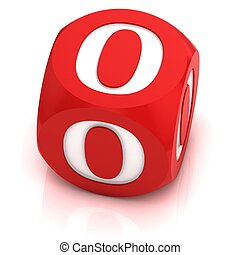 dice font letter O 3d illustration