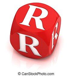 dice font letter R 3d illustration