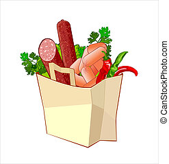 Paper bag with bread, sausage and greengrocery