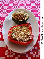 Stuffed peppers and zucchini