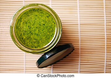 Pesto sauce - Fresh basil pesto, typical italian green sauce...