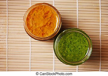 Pesto and tomatoes sauce