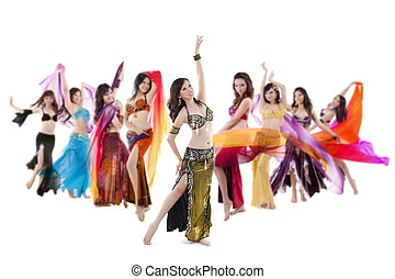 Belly dance troupe - Belly dancer troupe posing on white...