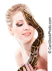 Beautiful woman holding python on isolated white
