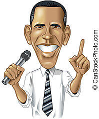 Barack Obama Caricature - Digital cartoon llustration