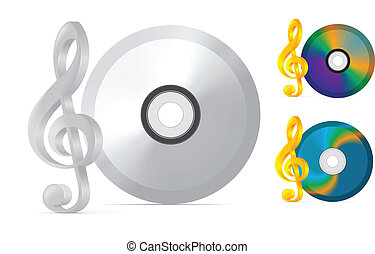 compact disc with treble clef