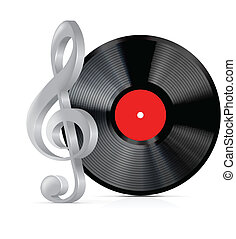 Vinyl record plate with treble clef - Vector vinyl record...