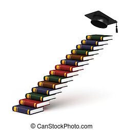 way to graduation - stairs made of books 3d concept