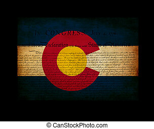 USA American Colorado state map outline with grunge ef fect flag insert and Declaration of Independence overlay