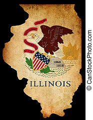 USA American Illinois State Map outline with grunge effect...