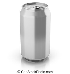 blank aluminium can isolated on a white background -...