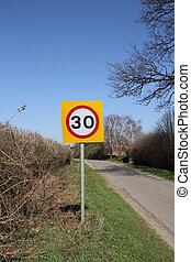 UK road speed limit sign - UK 30 MPH speed Limit sign