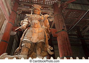 Koumokuten demon statue - Koumokuten demon wooden giant...