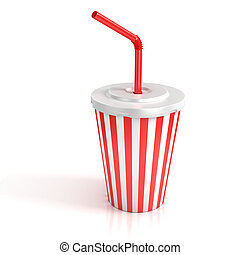 fast food paper cup with red tube 3d illustration