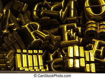 The yellow Typing number - The wooden yellowish typing...