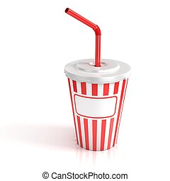 fast food paper cup with red tube - customize by inserting...