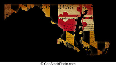 USA American Maryland state map outline with grunge ef fect flag insert and Declaration of Independence overlay