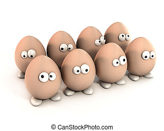 pack of funny eggs as a cartoon 3d characters isolated over...