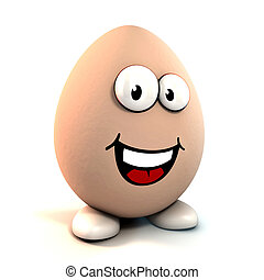funny cartoon egg 3d character isolated over white