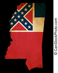 USA American Mississippi state map outline with grunge effect flag insert