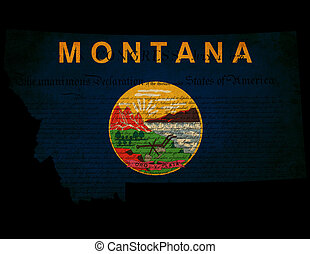 USA American Montana state map outline with grunge effect flag insert and Declaration of Independence overlay