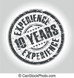 10 years experience stamp - grunge style stamp
