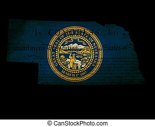 USA American Nebraska state map outline with grunge effect flag insert and Declaration of Independence overlay