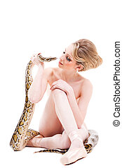 attractive nude ballerina with python on isolated white -...