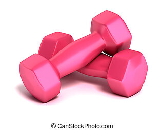 pink fitness weights on white background