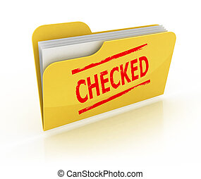 checked folder 3d icon - checked folder 3d icon over the...