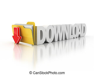 download folder icon - download folder icon 3d illustration...