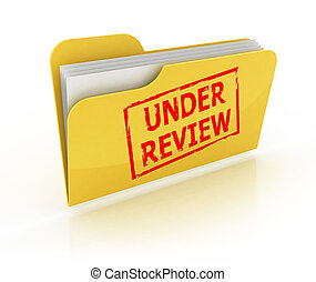 under review icon over the white background
