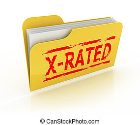 folder with explicit content 3d icon illustration