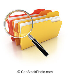 folders search 3d icon - folders under the magnifier...