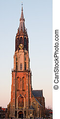 delft new church wide angle view, vertical composition