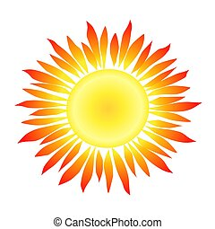 Sun with Flame-like Rays - Illustration of a sun with...