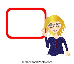 Woman Pointing to a Blank Board - Illustration of a blonde...