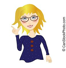Blonde Haired Working Woman - Illustration of a pretty...