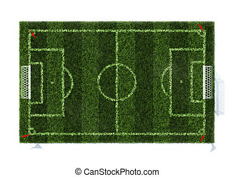 top view of the football field isolated on white background