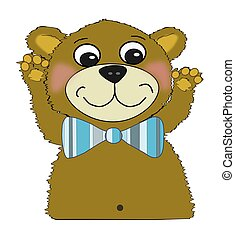 Fuzzy Teddy Bear with Bow Tie - Illustration of a cute fuzzy...