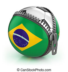 Brazil football nation - football in the unzipped bag with...