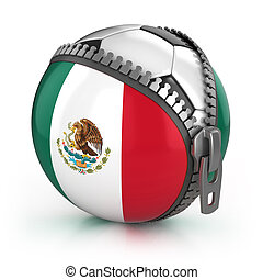 Mexico football nation - football in the unzipped bag with...