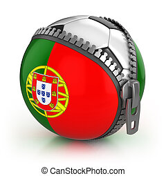 Portugal football nation - football in the unzipped bag with...