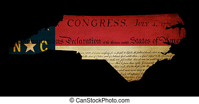 USA American North Carolina state map outline with grunge effect flag insert and Declaration of Independence overlay