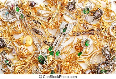 Gold jewelry background - Fashion jewelry from yellow and...